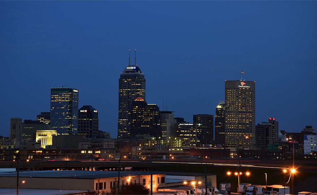 Downtown Indianapolis Skyline at Night