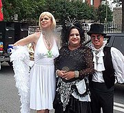 Drag queens Luc D'Arcy and Jerry Cyr and friend at Montreal's 2003 Divers/Cité pride parade.