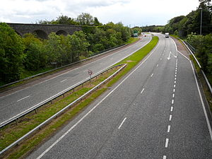 Dromore, County Down - The A1 Dromore by-pass in 2011. The disused railway viaduct can be seen on the left