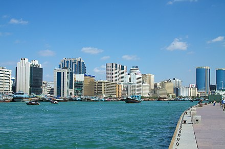 Dubai Creek, which separates Deira from Bur Dubai, played a vital role in the economic development of the city Dubai Creek from Bur Dubai (5374118618).jpg