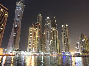 Dubai Marina - Night view of The tallest block, Dubai Marina