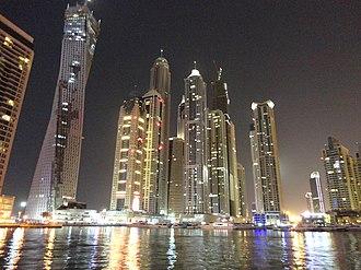 Dubai Marina - Night view of The tallest block, Dubai Marina