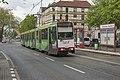 Duisburg Schweizer Straße DVG tram 1042 als lijn 901 naar Zoo (34081633036).jpg