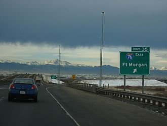 Interstate 76 (Colorado–Nebraska) - I-76 exit along E-470