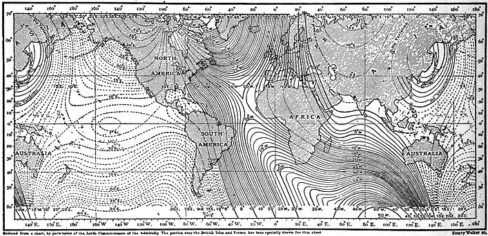 EB1911 - Magnetism, Terrestrial - Fig. 1.—Isogonals, or lines of equal magnetic declination.jpg