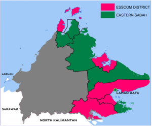 Eastern Sabah Security Command - Image: ESSCOM Map