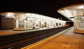 East Finchley tube station - The streamlined design of the platform waiting rooms