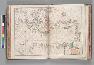 Mercator 1569 world map - A 1550 portolan of the eastern Mediterranean showing the high quality of coastal mapping.