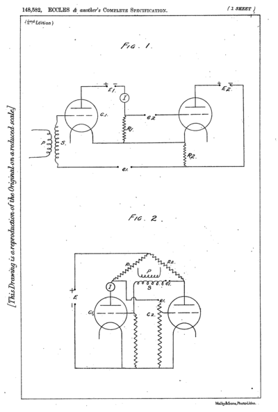 Flip-flop schematics from the Eccles and Jordan patent filed 1918, one drawn as a cascade of amplifiers with a positive feedback path, and the other as a symmetric cross-coupled pair Eccles-Jordan trigger circuit flip-flip drawings.png