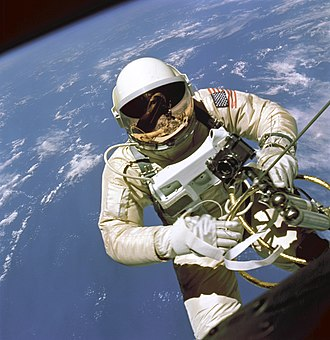 Extravehicular activity - Ed White performs the first American spacewalk during Gemini IV (June, 1965).