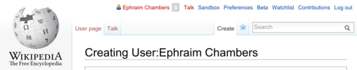 Editing Wikipedia screenshot p 14, creating Ephraim Chambers userpage.png