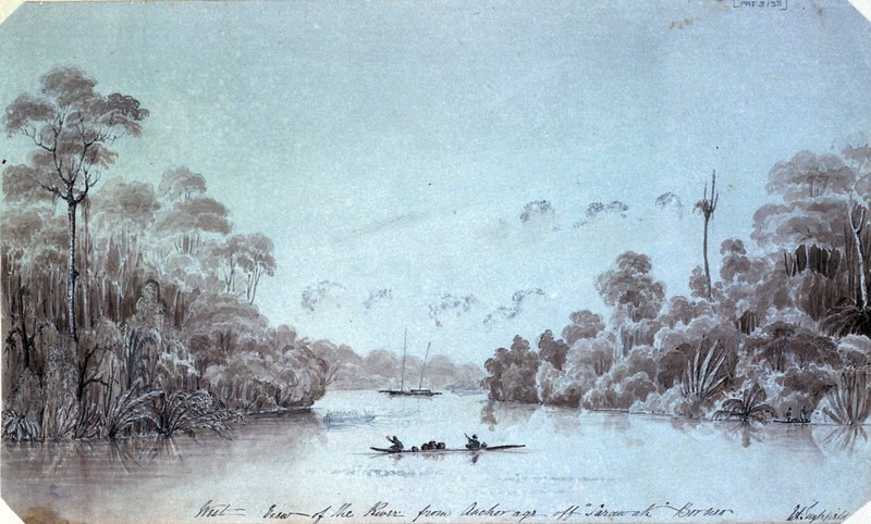 Edward Augustus Inglefield West view of the river from Anchorage off Sarawak Borneo