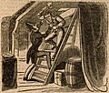 Edward Jordan attacking Captain John Stairs with an axe (The Annals of Crime, and New Newgate Calendar, 1834).jpg