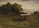 Edward Mitchell Bannister - Untitled (five cows grazing with trees and river in background) - 1983.95.122 - Smithsonian American Art Museum.jpg