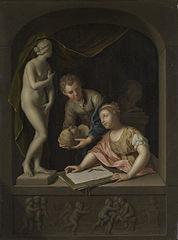 Une fille dessinant et un garçon proche d'une statue de Vénus