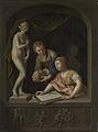 Een tekenares en een jongen bij een beeld van Venus Rijksmuseum SK-A-472.jpeg