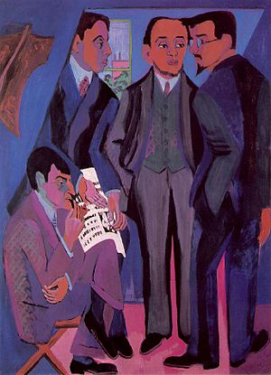 Die Brücke - Painting of the group members by Ernst Ludwig Kirchner 1926/7