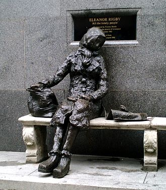 "Eleanor Rigby - Statue of Eleanor Rigby by Tommy Steele on Stanley Street, Liverpool. A plaque describes: ""Dedicated to All the Lonely People"""