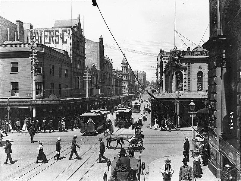 File Electric Trams King Street Sydney 1900 Jpg