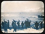 Elephant Island party waving goodbye to James Caird state library nsw a423041h.jpg