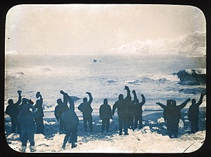 Voyage of the James Caird - Elephant Island party waving goodbye to James Caird,24 April,1916, State Library of New South Wales, http://archival.sl.nsw.gov.au/Details/archive/110320782