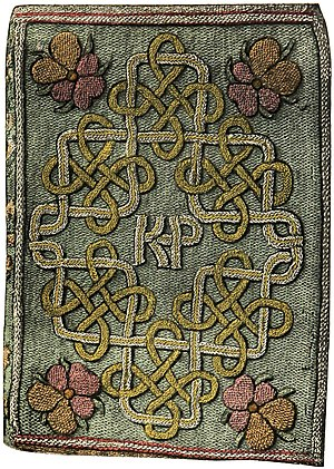 The Miroir or Glasse of the Synneful Soul - The embroidered front cover of The Miroir or Glasse of the Synneful Soul