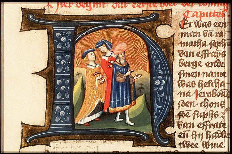 Elkanah and wives illuminated letter