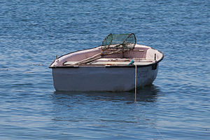 English: Boat and equipment to fish, O Carril,...