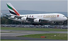 Emirates (Arsenal F.C. livery) Airbus A380-861 (A6-EUA) landing at Manchester Airport.jpg