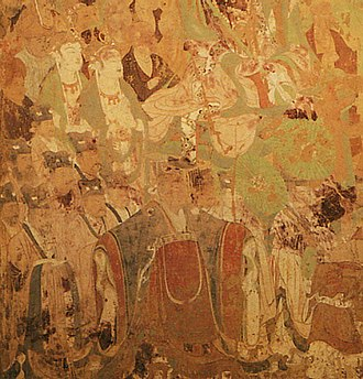 Emperor Taizong of Tang - A mural painting of Emperor Taizong (located bottom, center) dated to 642 AD, located in Cave 220, Dunhuang, Gansu province.