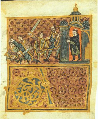 Wenceslaus I, Duke of Bohemia - Wenceslaus' assassination: the duke flees from his brother (with sword) to a church, but the priest closes the door. (Gumpold von Mantua, 10th century)