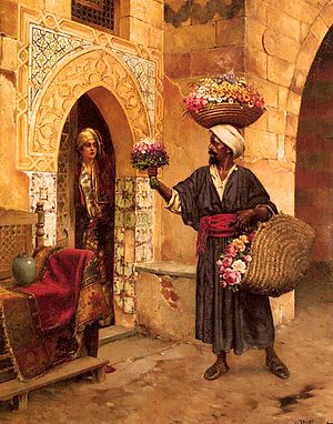 Flower seller - Rudolf Ernst painting of The Flower Vendor