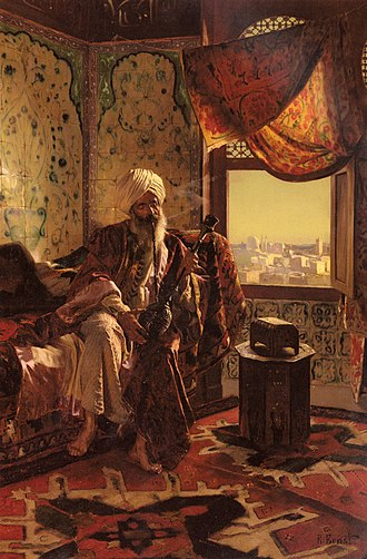 Hookah - Smoking the Hookah, a painting by Rudolf Ernst