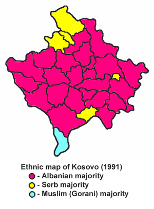 Gorani people - Former Gora municipality in AP Kosovo and Metohija, SR Serbia, marked in blue.