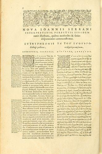 Euthyphro - Henri Estienne's 1578 edition of Euthyphro, parallel Latin and Greek text.