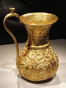 Ewer inscribed with name and titles of Abu Mansur Izz al-Amir al-Bakhtiyar ibn Muizz al-Dawla, view 1, Buyid period, Iran, 3rd quarter of 10th century AD, gold - Arthur M. Sackler Gallery - DSC05770.JPG