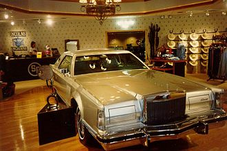 Lincoln Continental Mark V - Jock Ewing's 1977 Lincoln Continental Mark V on display from the television series Dallas