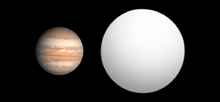 Size comparison of wasp 17b right with jupiter left