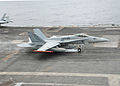 FA-18C of VMFA-251 landing on USS Theodore Roosevelt in January 2015.JPG