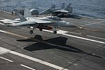 FA-18F of VFA-41 lands on USS John C. Stennis (CVN-74) in January 2015.JPG
