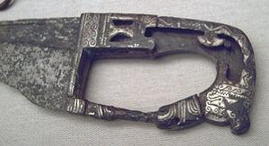 Falcata - Decorated hilt of a 4th or 3rd century BC falcata from Almedinilla, Córdoba (M.A.N., Madrid).