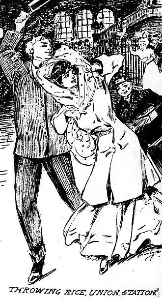 Union Station (St. Louis) - Fanciful drawing by artist Marguerite Martyn of a newlywed couple at Union Station, with porter following and an older couple throwing rice, published August 5, 1906, in the St. Louis Post-Dispatch