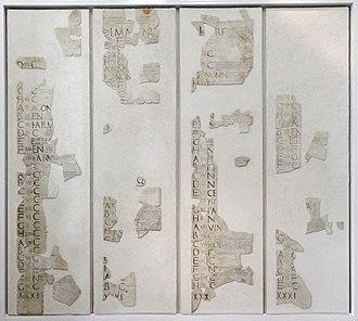 Roman calendar - Image: Fasti Praenestini Massimo n 1