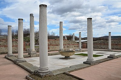 Remnants of the Felix Romuliana Imperial Palace, a UNESCO World Heritage Site; as many as 18 Roman emperors were born in modern-day Serbia Felix Romuliana, built in 298 AD by Emperor Galerius, Dacia Ripensis, Serbia (42905999032).jpg