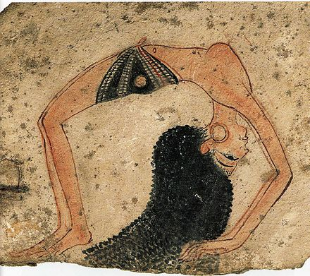 Topless dancer in a back bend, ostrakon, 13th Century B.C., New Kingdom