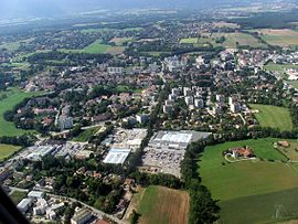 An aerial view of Ferney-Voltaire