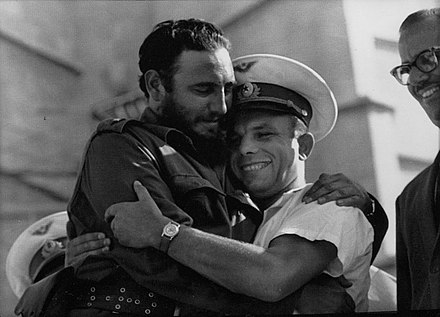 Castro and Soviet cosmonaut Yuri Gagarin, the first human in space Fidel-Gagarin-hug.jpg