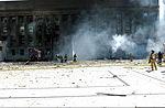 Firefighters work to put out the flames moments after a hijacked jetliner crashed into the Pentagon at approximately 0930 on September 11, 2001 010911-M-CI426-064.jpg