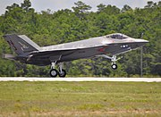 First F-35C Lightning II of VFA-101 lands at Eglin AFB 2013