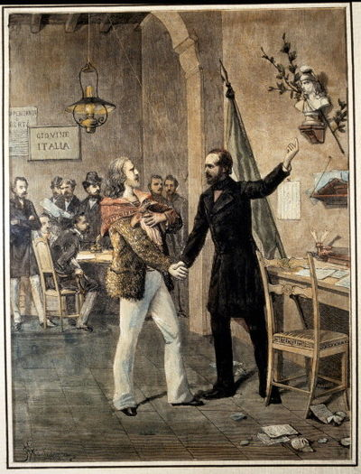 The first meeting between Garibaldi and Mazzini at the headquarters of Young Italy in 1833.